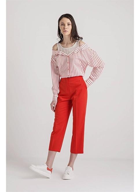 Rue Tokalı Kısa Pantolon Kırmızı